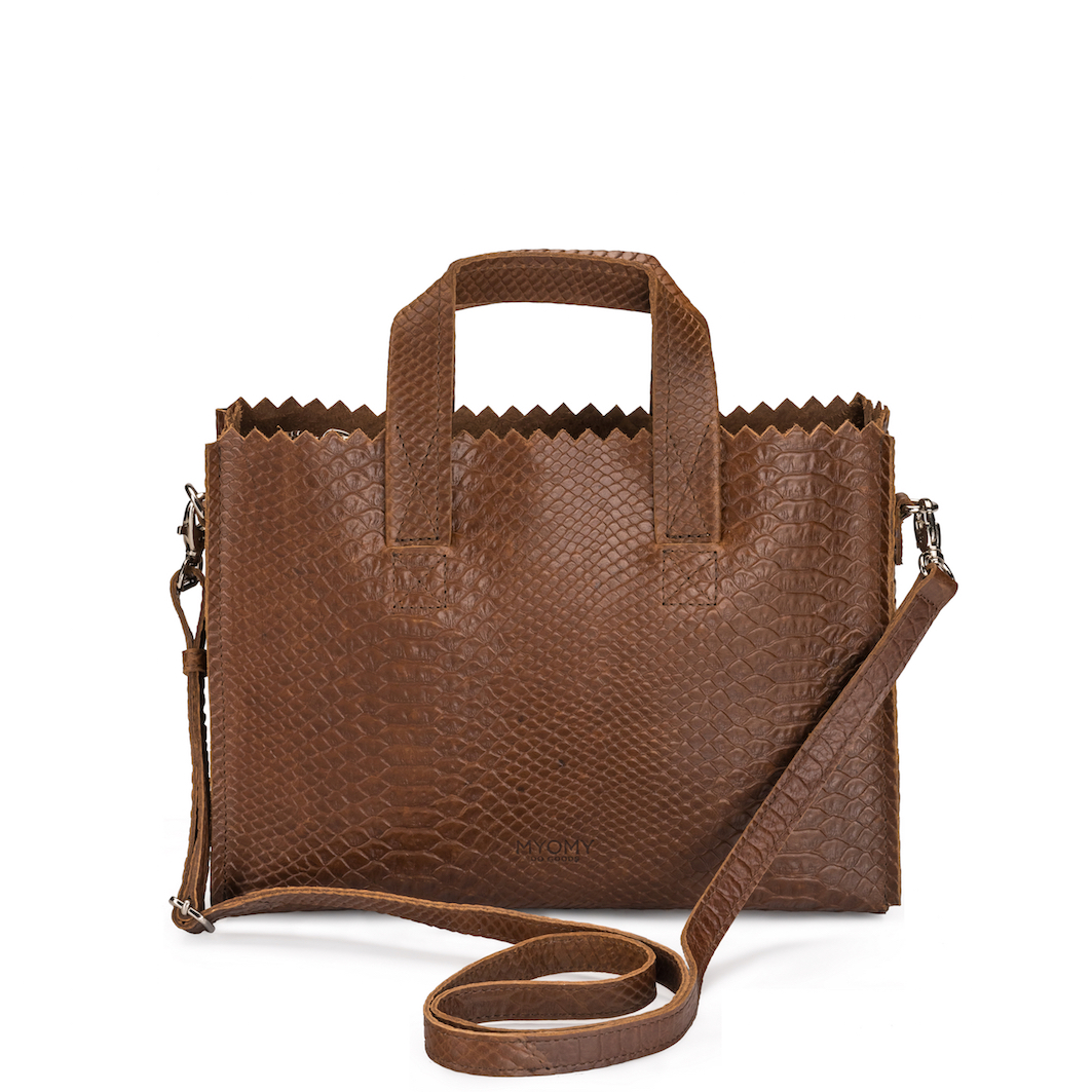 MY PAPER BAG Mini handbag cross-body – anaconda brandy