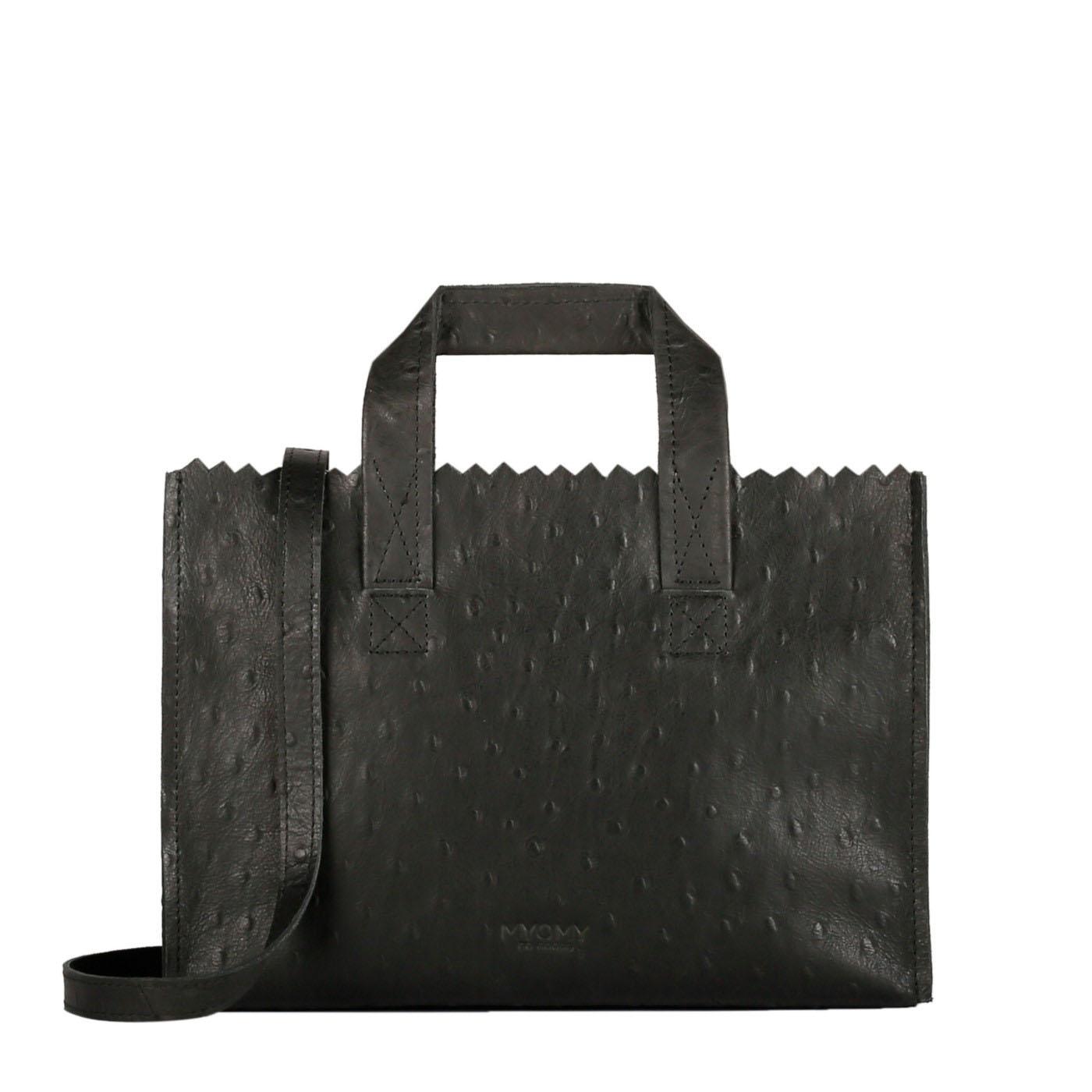 MY PAPER BAG Mini handbag cross-body – ostrich black